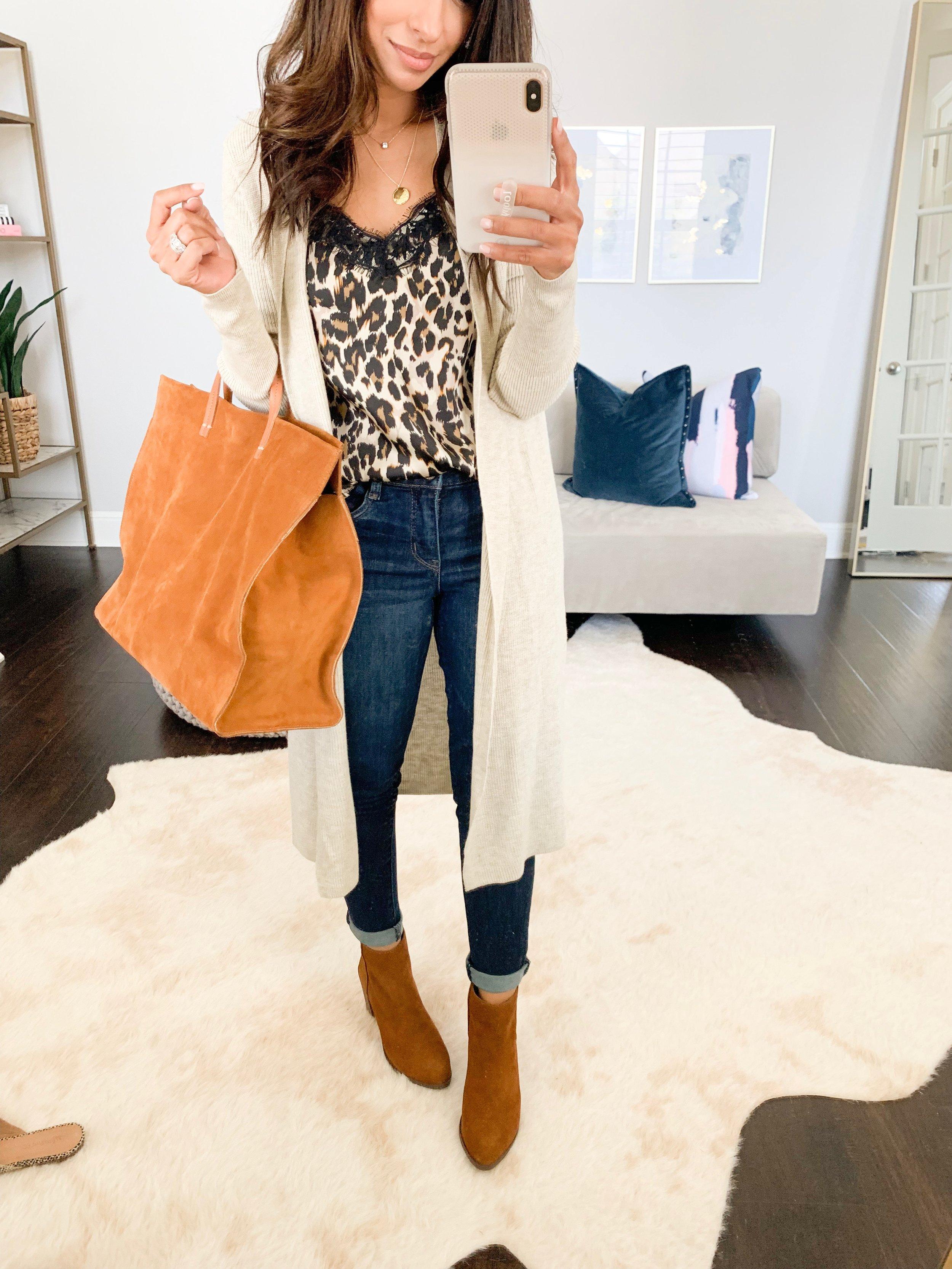 Cardigan (XXS)    //    Cami (XXS)    //    Jeans (TTS   ) //    Booties (TTS)    //    Handbag (obsessed!!)