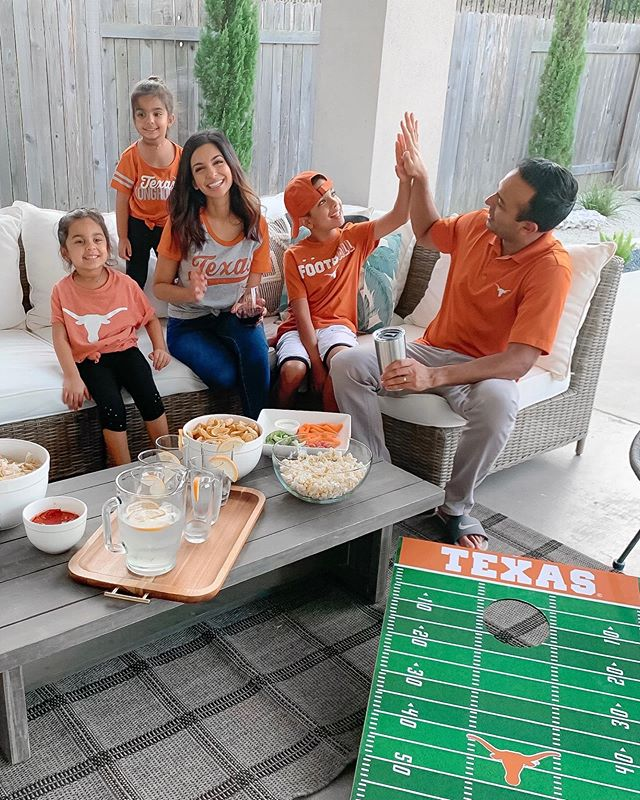 Happy Saturday friends! This is what Texas game day looks like around here🤘🏽You can ALWAYS find me by the snacks 😋 Sharing some of our game day favs on the blog today 🏈 http://liketk.it/2F85W @liketoknow.it @walmart #sponsored #walmart #liketkit #gameday #ltkfamily #partyoffive