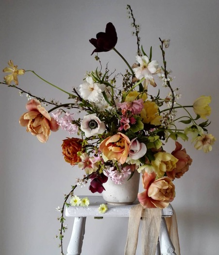 A spring arrangement using locally grown tulips and anemones 2018
