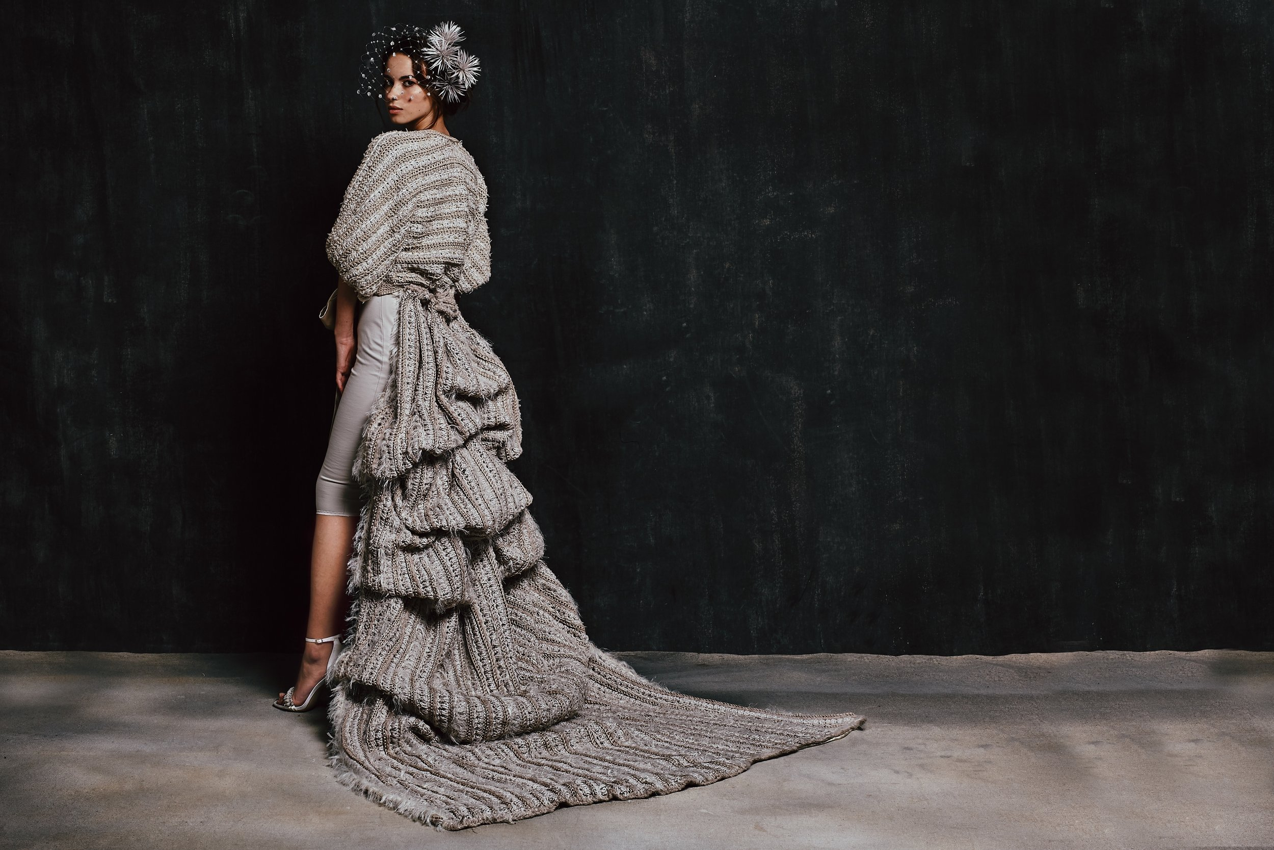 Lee Klabin - Modern couture bridalwear with a conscience. We design hand-made tailored and knitted bridalwear pieces that form a wedding ensemble that can then be disassembled to accompany our brides throughout their