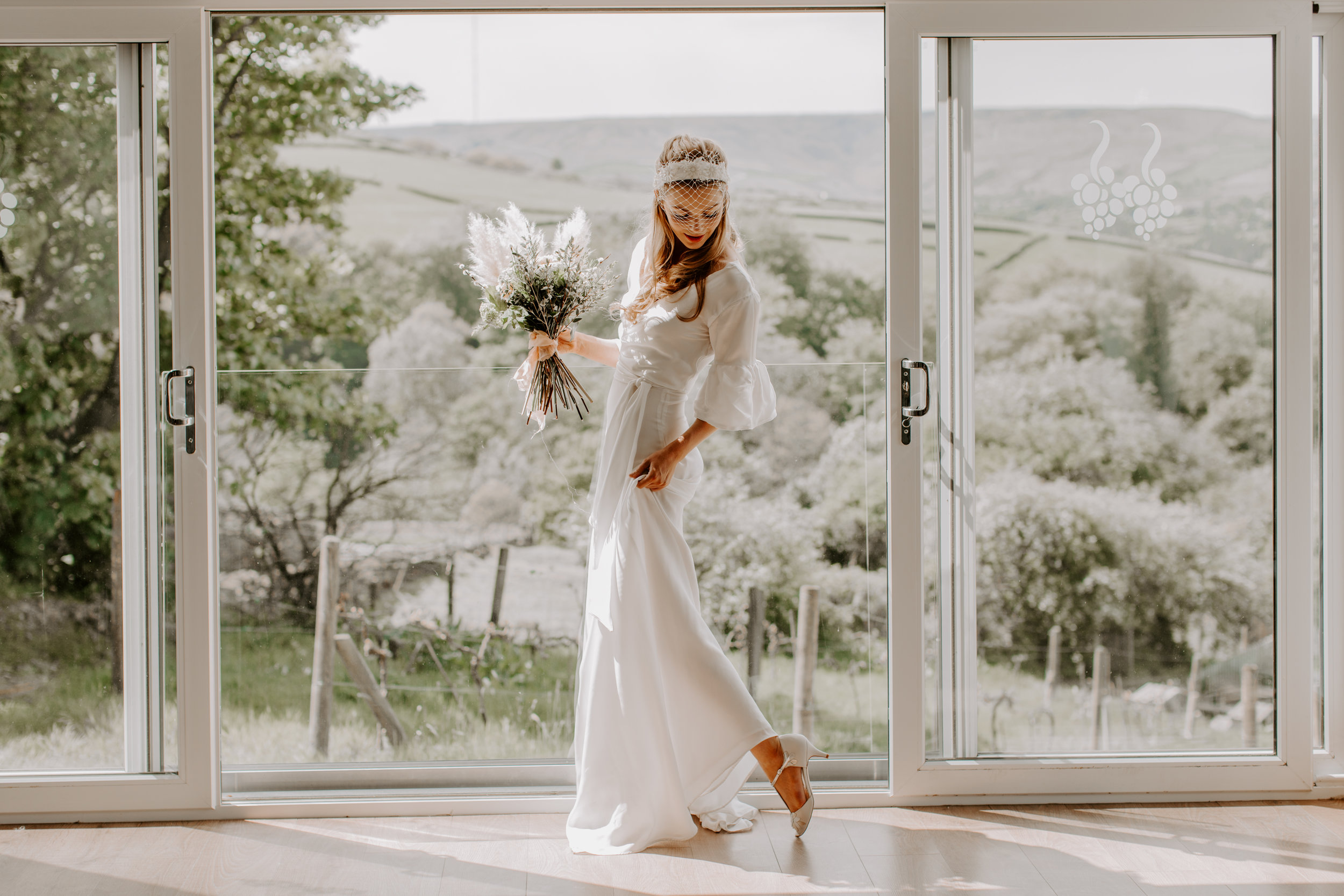 English vineyard styled shoot - A new collaboration of my eco wedding dresses and Silversixpence in her shoe accessories.