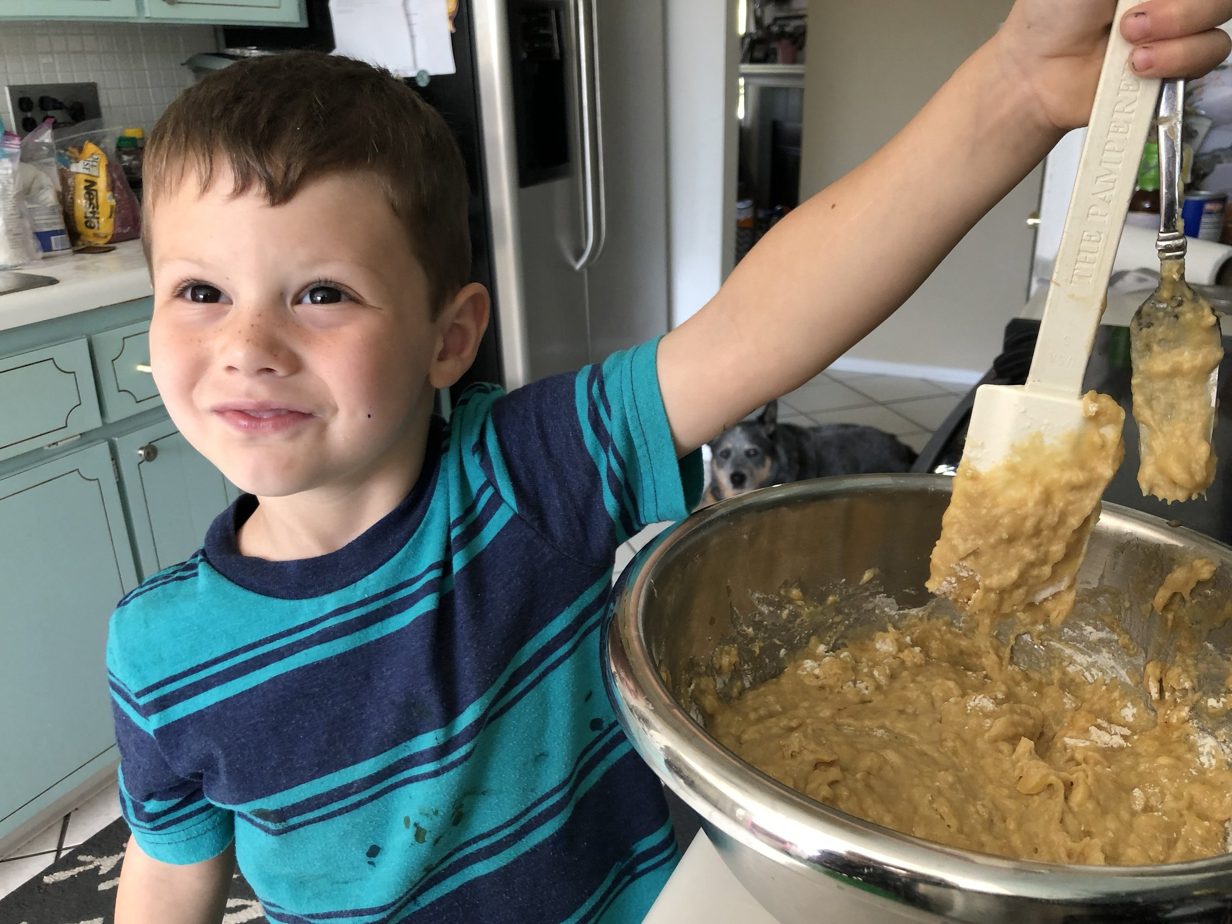 Mix batter - Pancake, cookie, quick bread, even quiche. Allow your kids to do the mixing, whisking and even beating. Whether by hand or with an electric mixer, your kids will love to mix it up. You just need to provide ground rules first and check for understanding before handing over the tool.