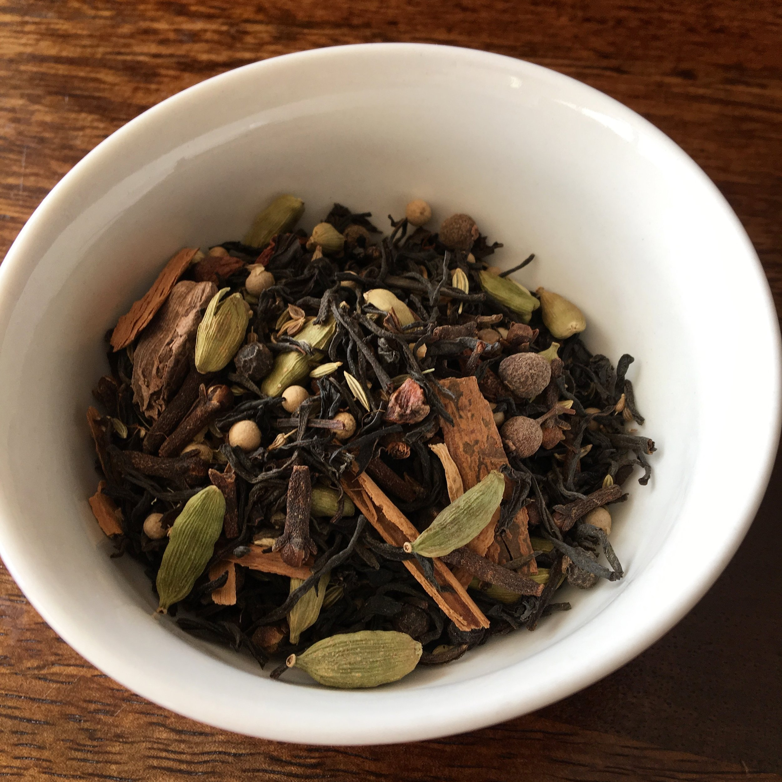 My own masala chai spice blend combined with black Assam tea leaves