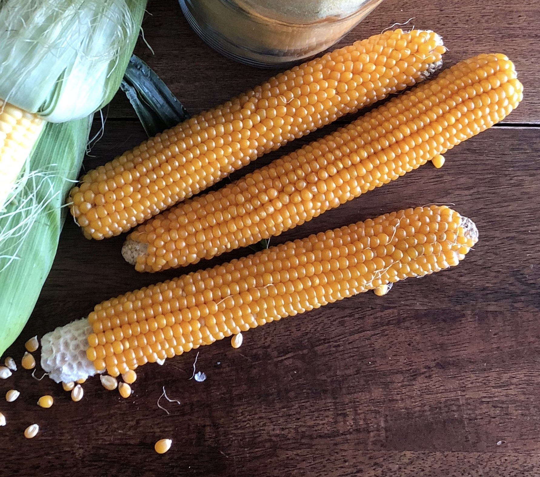 We get our popping corn dried on the cob from Farmer Ted at Windflower Farm, but any bagged popping corn will do.