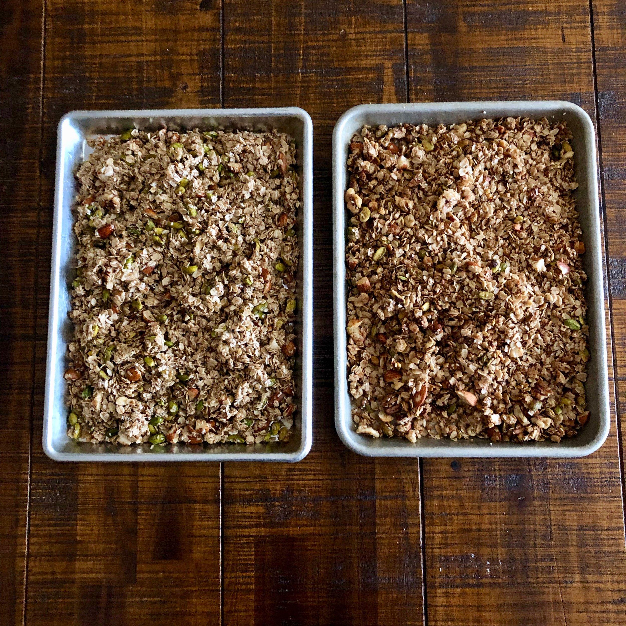 Bake until light golden brown (right)