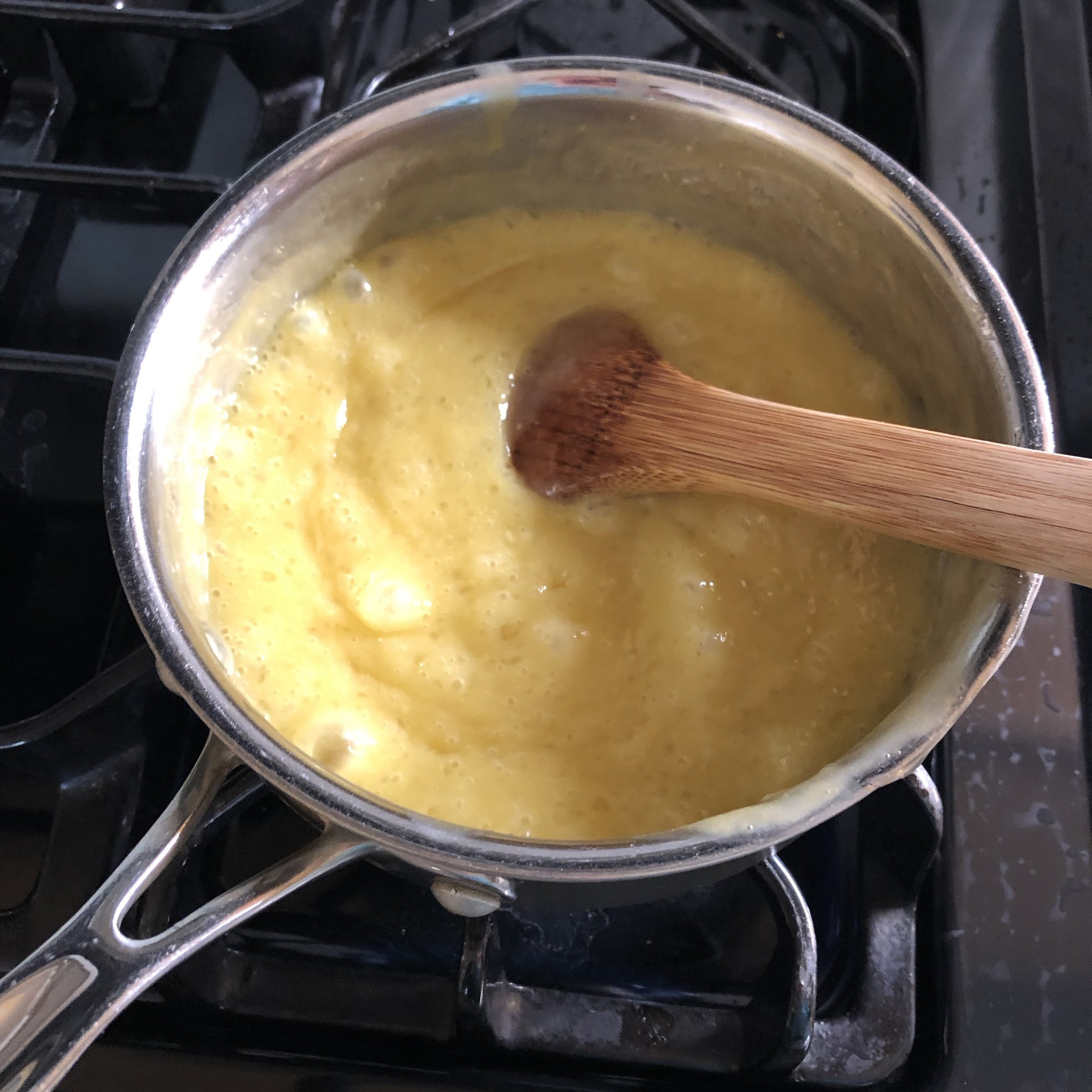 Cook mixture on medium high heat to thicken. It should bubble gently. Stir frequently.