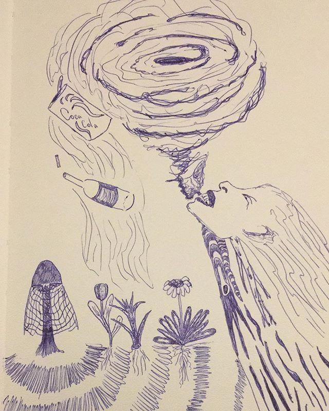 subconscious doodle #subconsciousmind #subconscious #doodle #sketch #regeneration #processing #emotionalprocessing #mushrooms #flowers #turmoil #chaos #healing