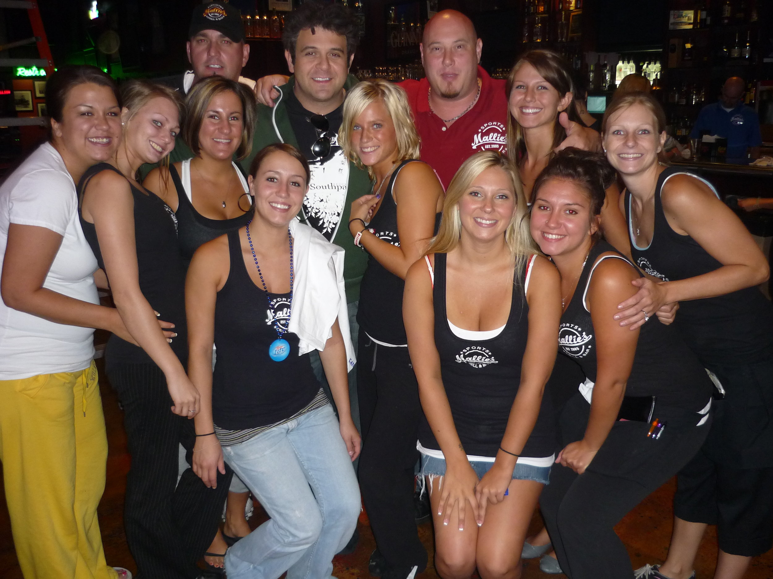 Man Vs Food's Adam Richman, Mallie's Owner/Founder Steve Mallie and staff during the epic episode of the 190 pound burger, featured on the travel show in 2009, see below!