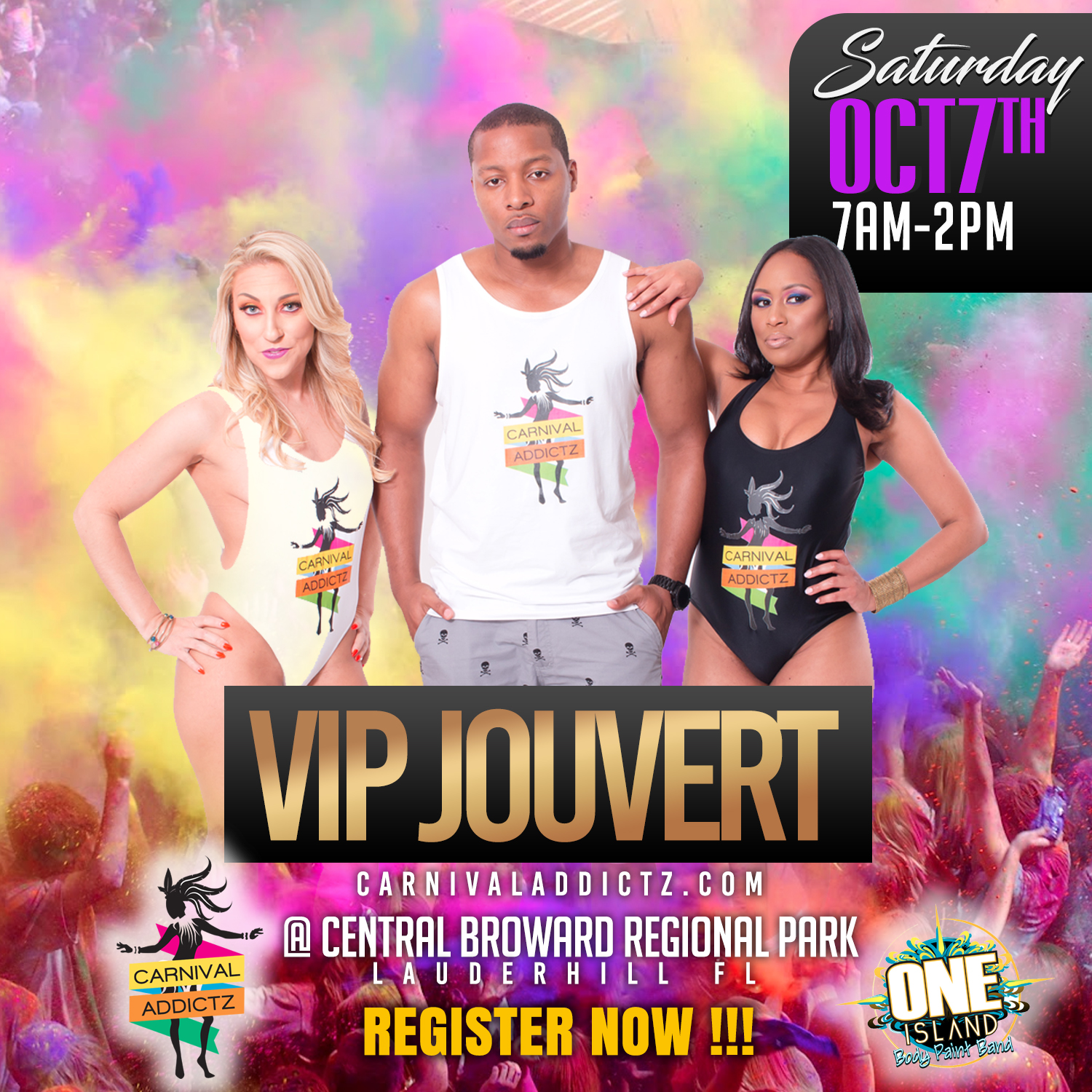 Carnival Addictz - It's J'ouvert time again!We're happy to have you as a part of the Carnival Addictz VIP section. As we prepare for Miami J'ouvert 2017, please note the following information:Distribution:for Carnival Addictz J'ouvert 2017 takes place at:Miami Beach Resort and Spa Location:4833 Collins Avenue, Miami Beach, FL 33140, USAIn the Regency Ballroom & Conference RoomDates: Thursday October 5th & Friday October 6th 2017Distribution:times are as follows:12.00PM - 2.00PM & 6:00PM – 12:00AMWhat to bring:Your printed receiptForm of IDCollecting for someone else?What to bring:Printed receiptLetter of authorizationCopy of ID of the person whose package is being collected (This person's name MUST be on the receipt)ID of the person who is collecting the packageNOTE: For patrons who purchased MULTIPLE packages, ALL PACKAGES MUST BE COLLECTED AT THE SAME TIME.Please be reminded that your PRINTED or electronic receipt MUST be presented at the distribution center.Carnival Addictz thanks you for choosing to join us for J'ouvert.We can't wait to see YOU on the ROAD.