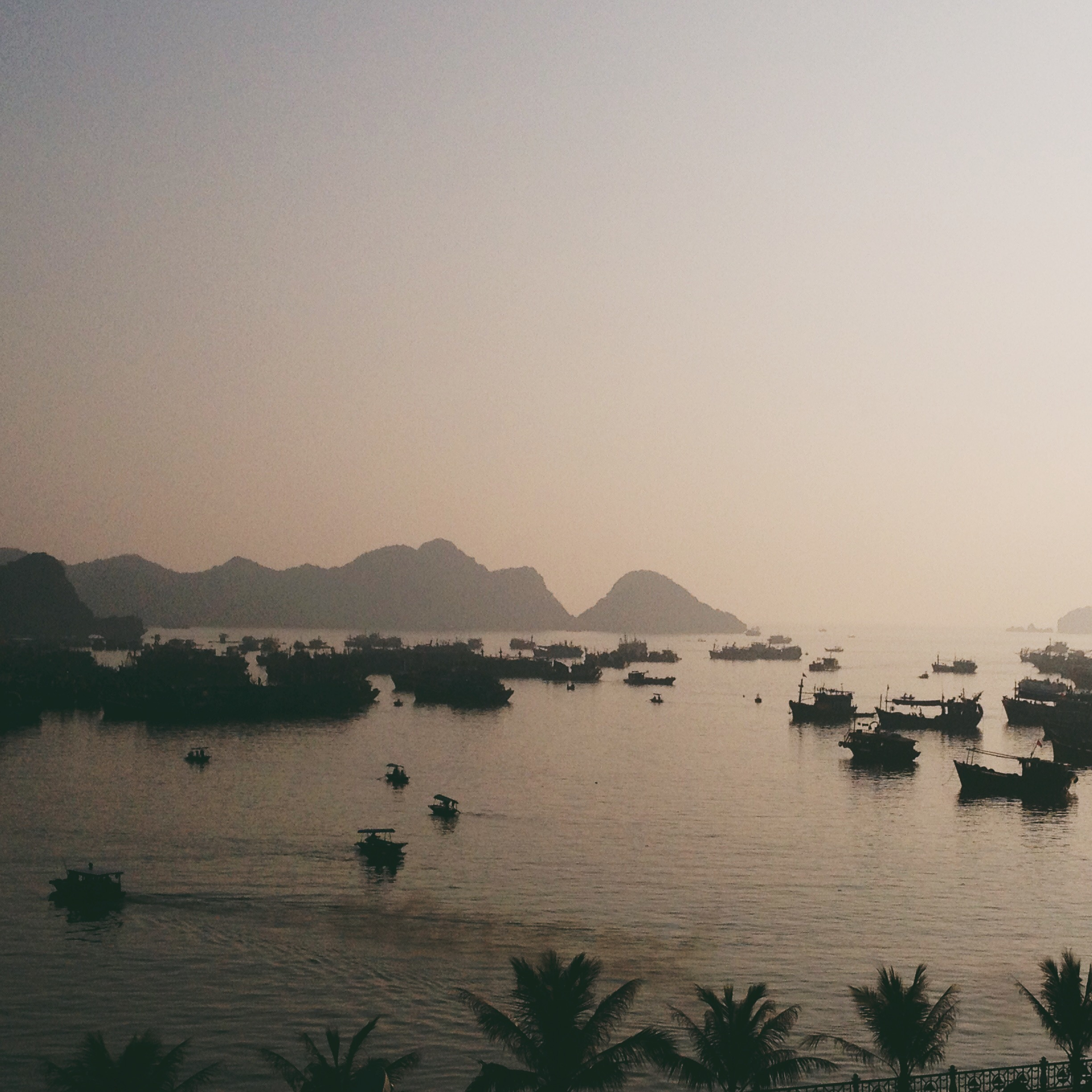 Sun setting over the boats in Cat Ba.