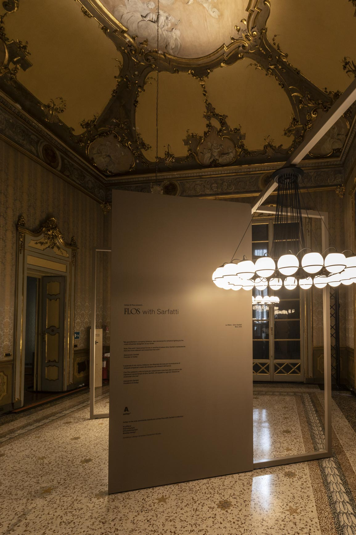 Astep exhibition for Salone del Mobile at Palazzo Litta | Flos with Sarfatti Collection
