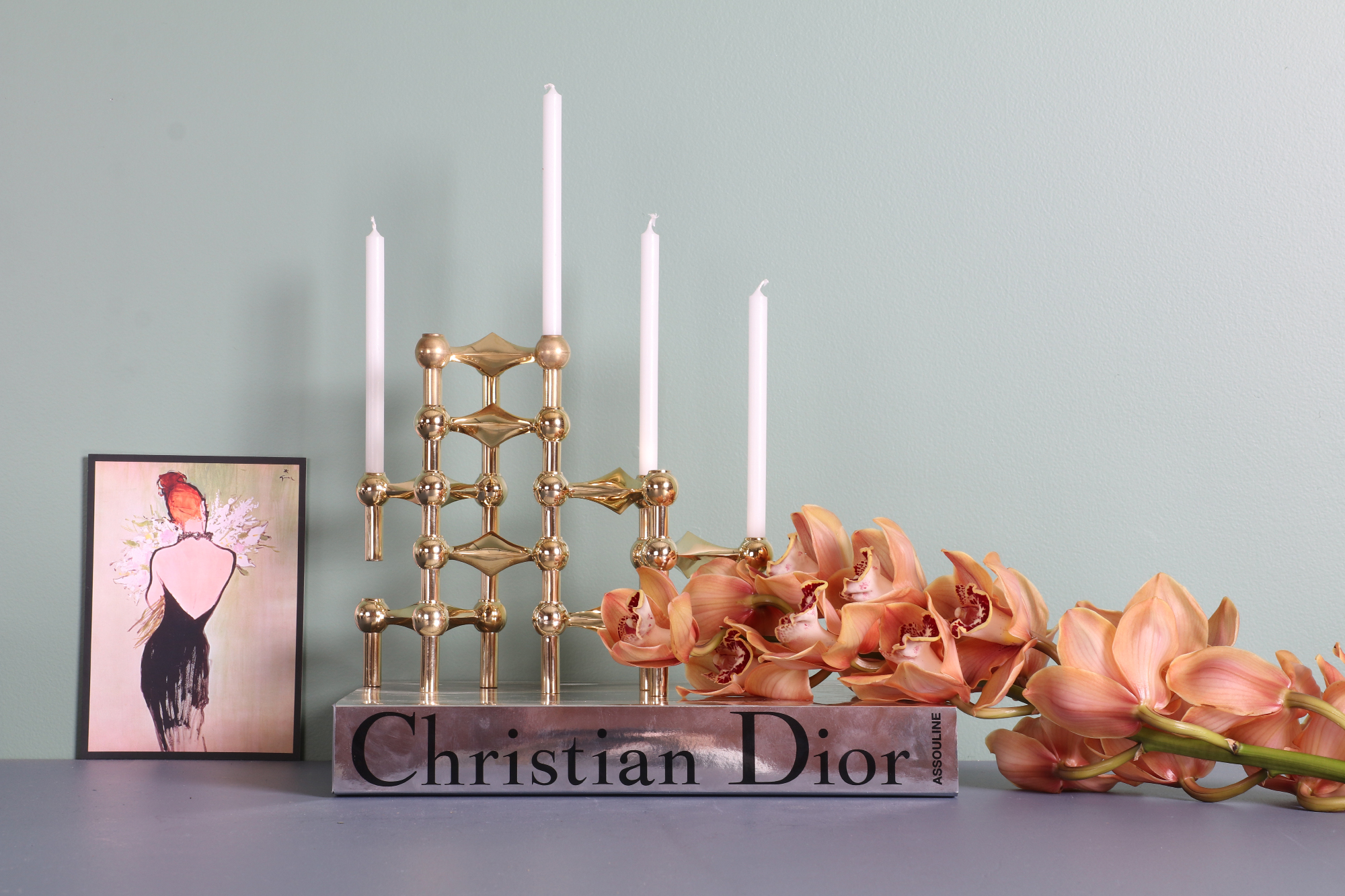 Stacked Stoff Nagel candleholders in brass