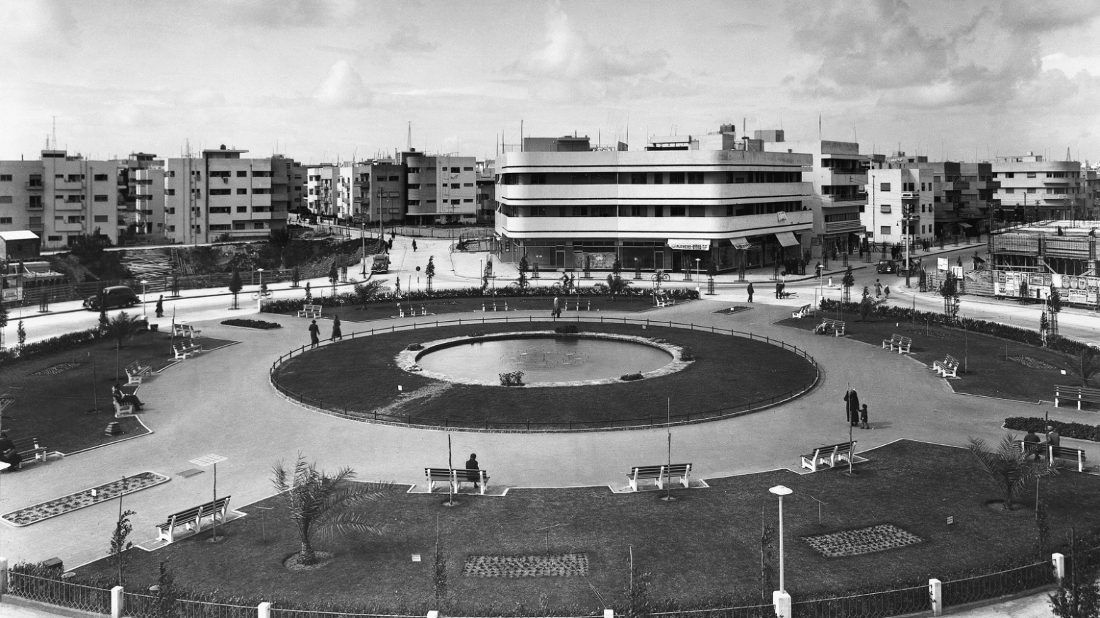 This Bauhaus building is located at Tzina Square (now Dizengoff Square) in Tel Aviv, built in 1937 by Genia Averbuch. Photo from the Library of Congress, G. Eric and Edith Matson Photograph Collection