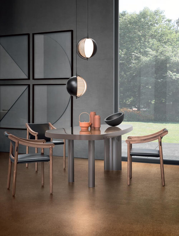 Mondo pendant lamp featured with Cassina designer furniture from Charlotte Perriand and Vico Magistretti