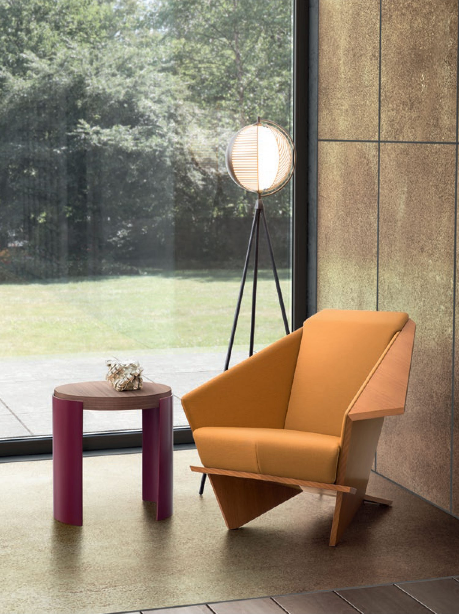 Mondo floor lamp featured with Cassina designer furniture from Frank Lloyd Wright