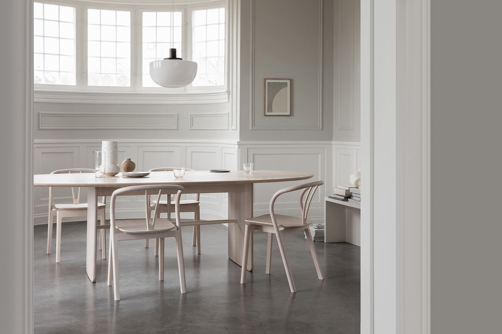 Ercol Pennon Table by Norm Architects with Flow Chairs by Tomoko Azuri.