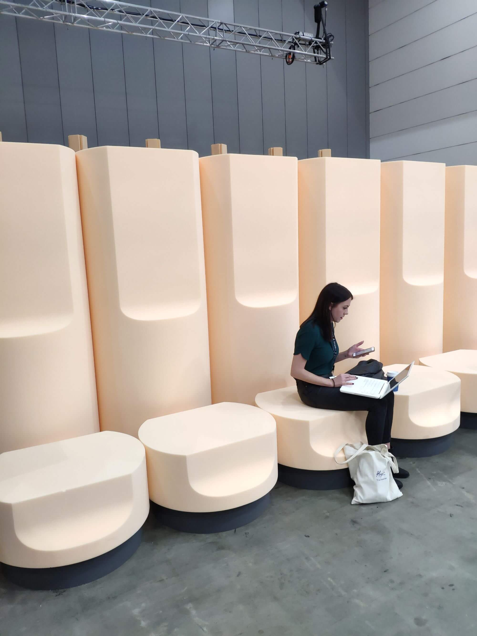 Creative modular seating with pastel coloured foam for the speaker series at DenFair