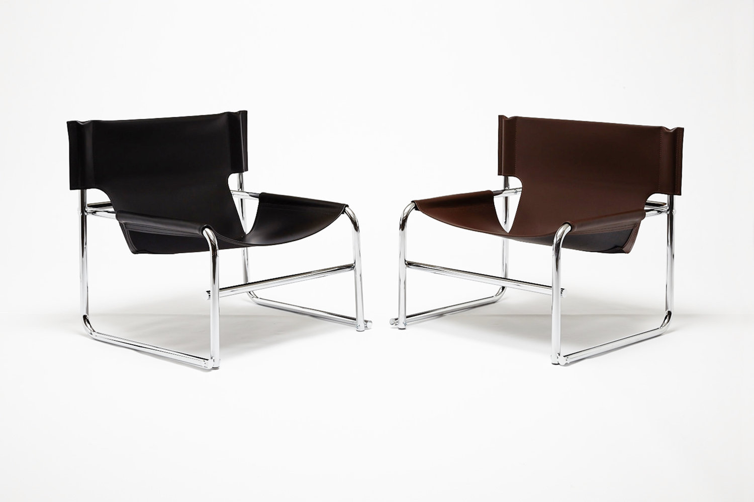 OMK 'T1' Leather and Chrome Armchair