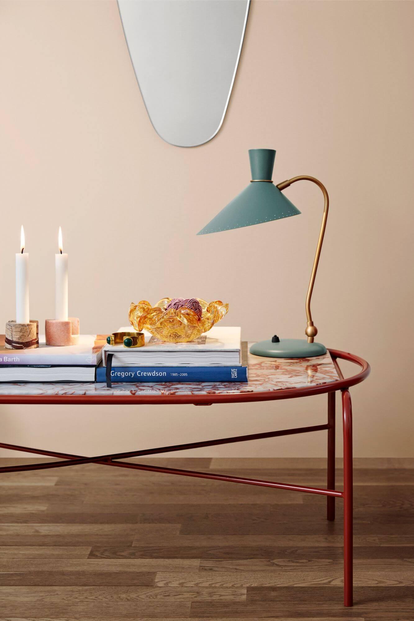 Warm Nordic  'Secant' Table ,  'Bloom' Table Lamp ,  'Masquerade' Mirror