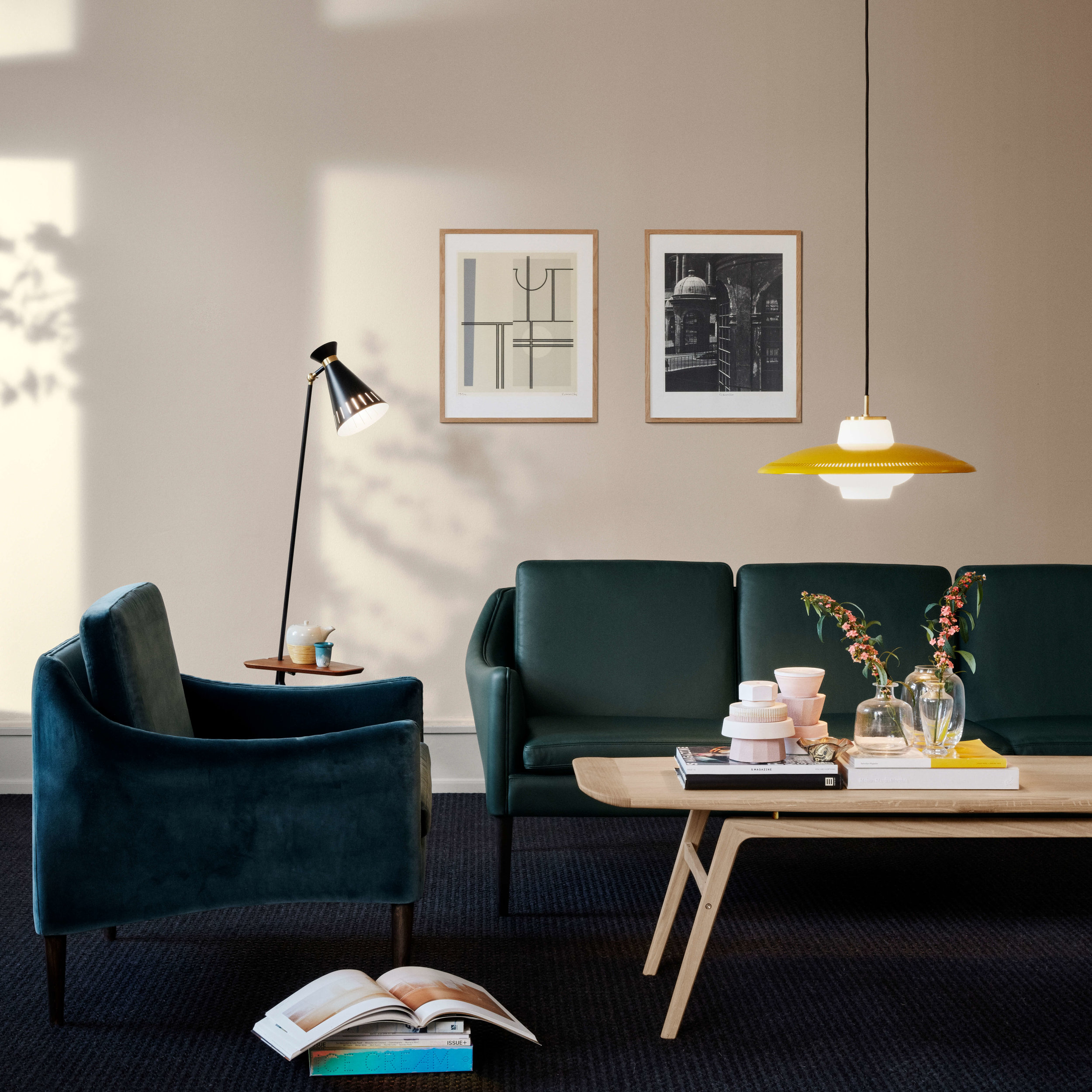 Warm Nordic  'Mr. Olsen' Lounge Chair  and  Sofa ,  'Opal' Shade Pendant