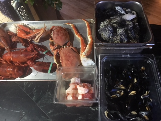 Lobsters; snow, king, and dungeness crab; shrimp; mussles; oysters; clams.
