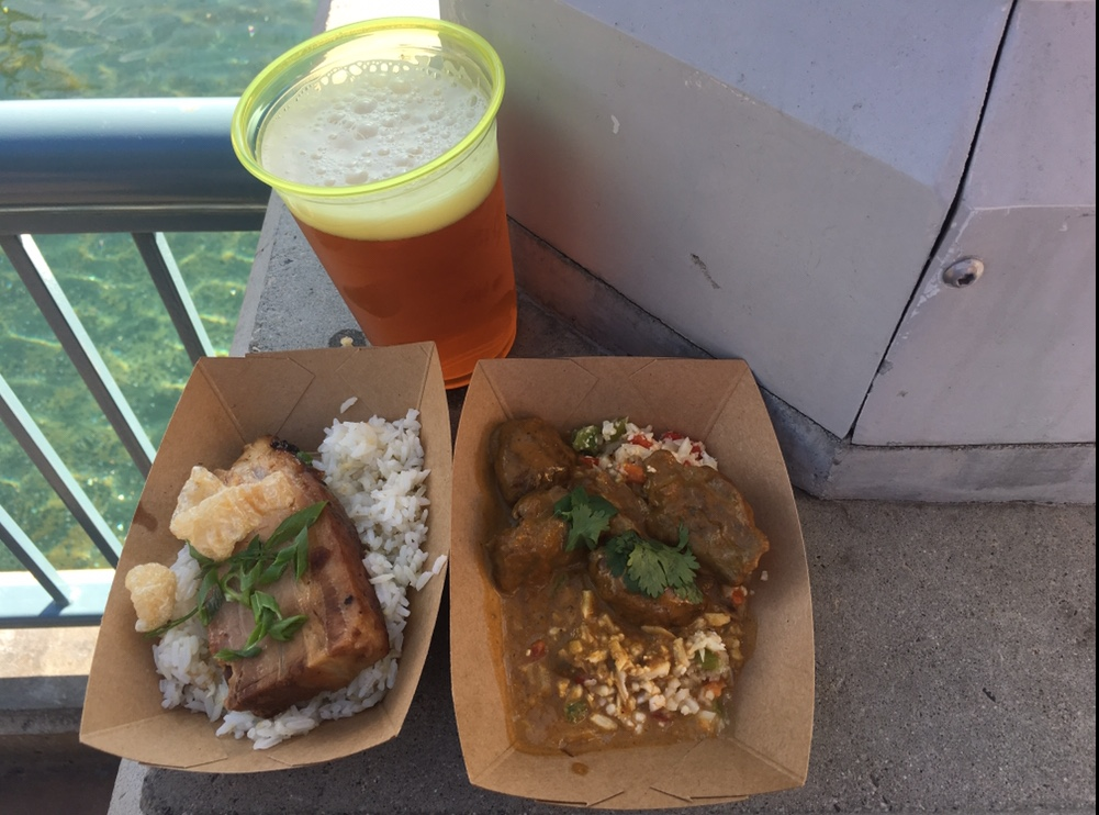 Braised Pork Belly Adobo with garlic fried rice and Braised Lamb Cheeks with Mediterranean cauliflower from Blissfully Braised.