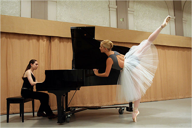 The pianist Melody Fader with Christin Hanna of Miro Magloire's New Chamber Ballet.  Credit: Hiroyuki Ito for The New York Times
