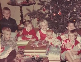 Seven of the ten Meagher kids on Christmas morning, 1962