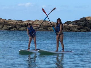 Me and Morgan on the stand-up paddleboards