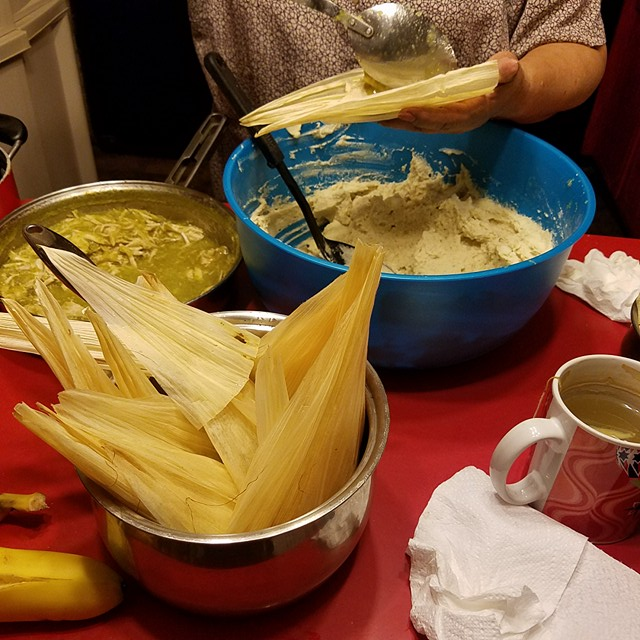 Mom throwing down - Green sauce chicken tamales in the making