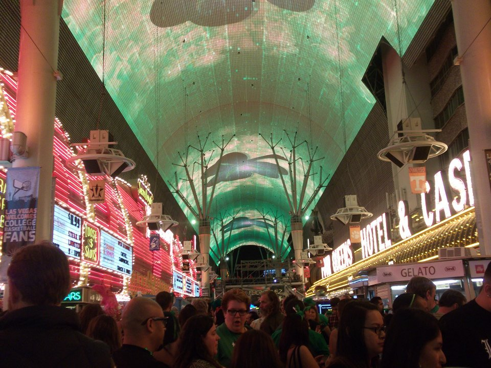 Giant light show at Fremont Street Experience during St. Patrick's Day