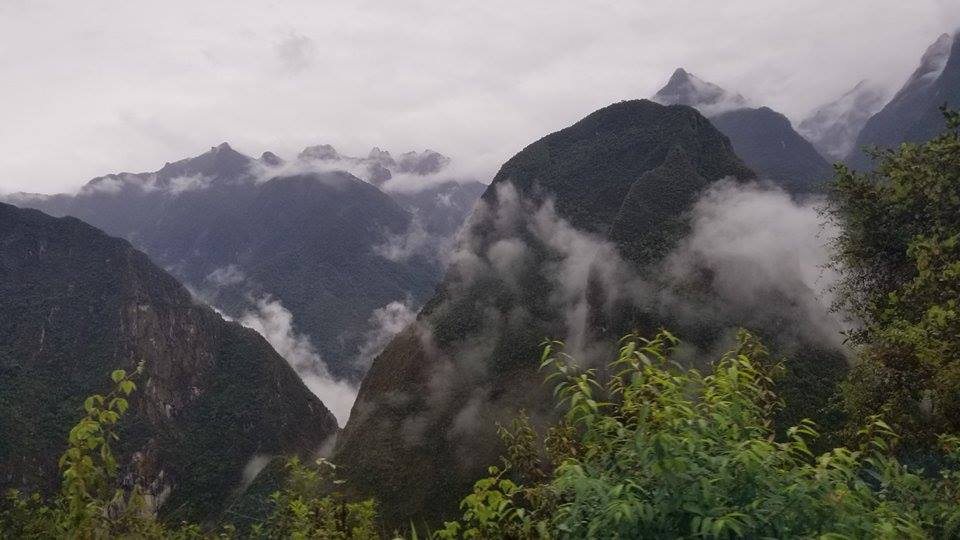 View from the bus going up the mountain to Machu Picchu