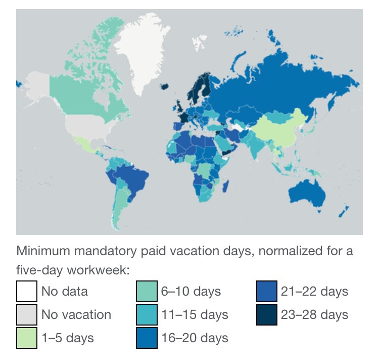 Minimum days of paid annual leave around the world
