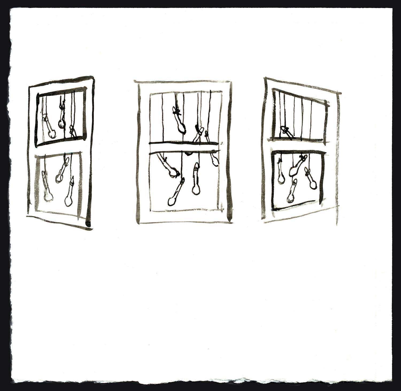 Bay Window , 2006, ink on gessoed paper, 4 1/2 x 4 3/4 in.