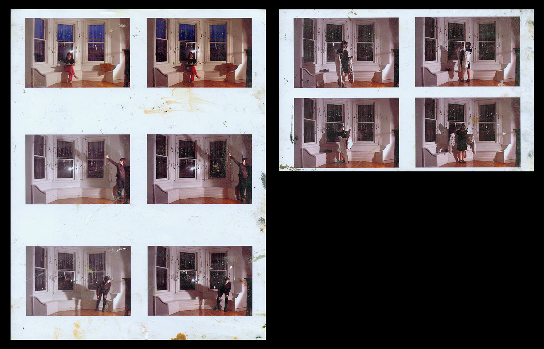Bay window video stills , 2007, Epson print, oil paint, 11 x 8.5 in., 5.5 x 8.5 in.