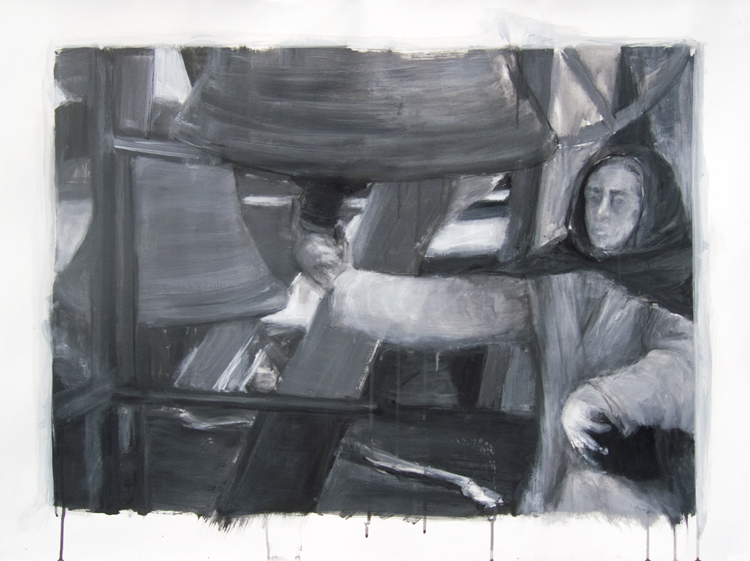 The bell ringer   , 2008,   acrylic on paper, 29 1/2 x 39 1/2 in.
