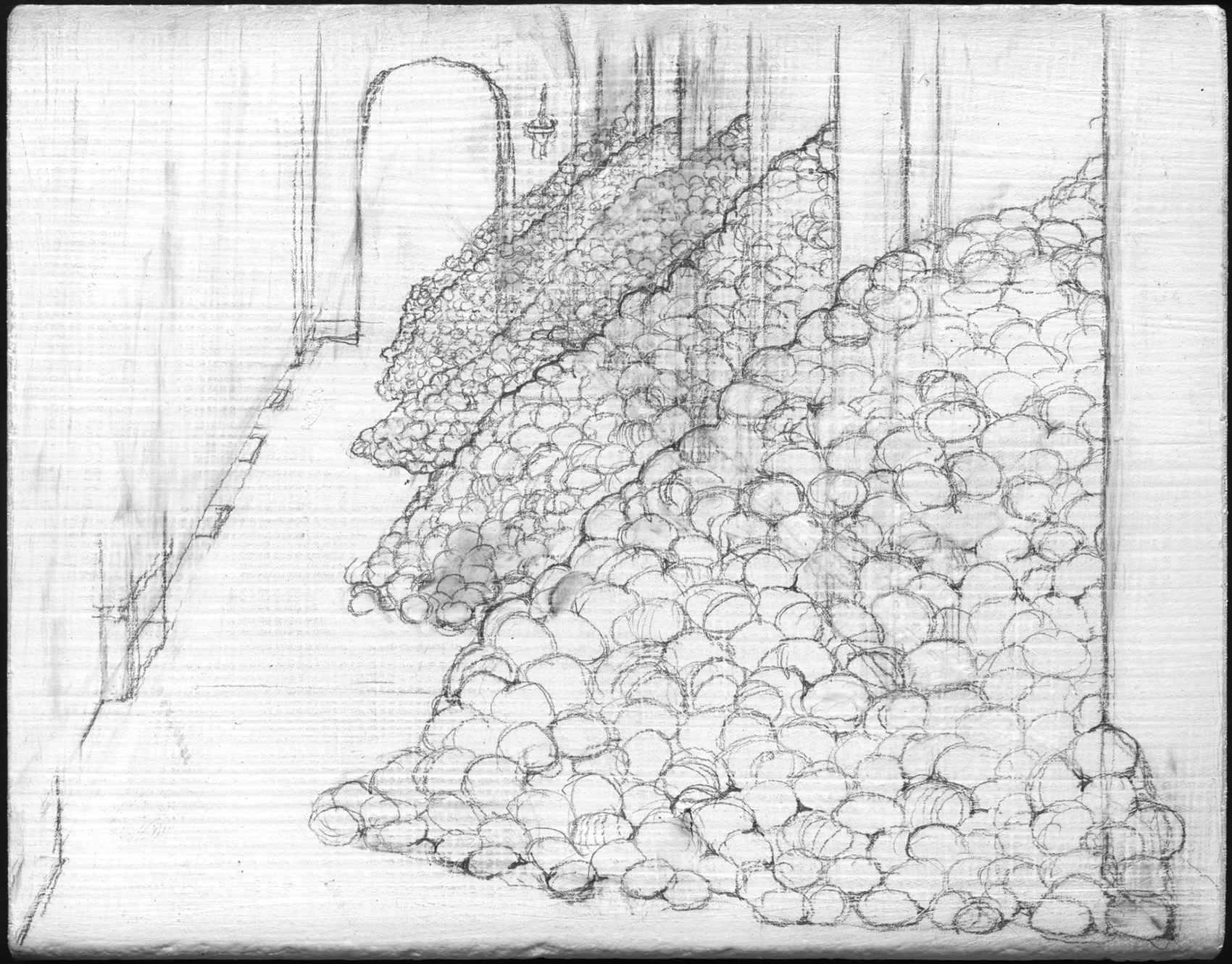 Egg Palace   , 2008,   graphite on gessoed panel, 3 3/4 x 4 3/4 in.