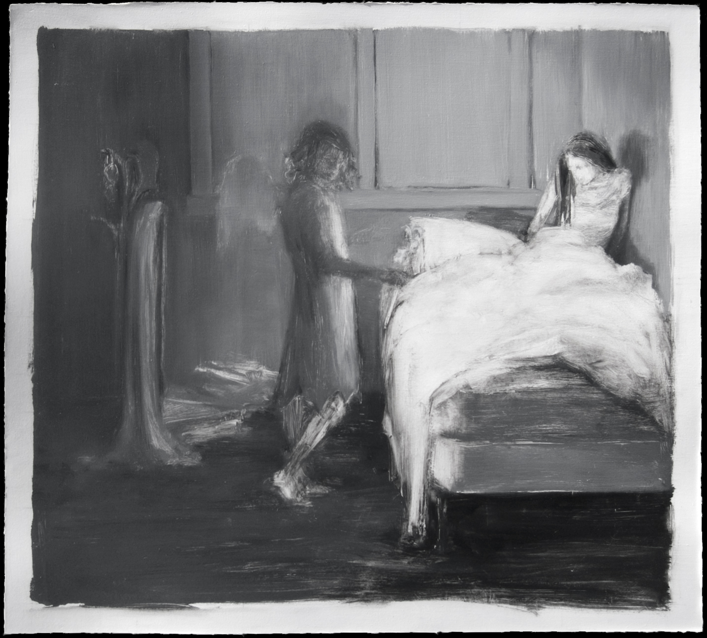 The white painting   , 2008,   oil on paper, 14 1/4 x 15 1/2 in.