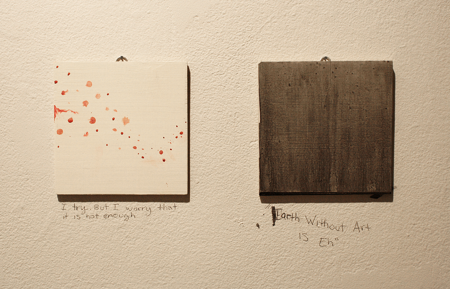 Today speak only in pictures , 2013, 2 of 75 completed paintings, 2013, acrylic on wood, 5.5 x 5.5 in.