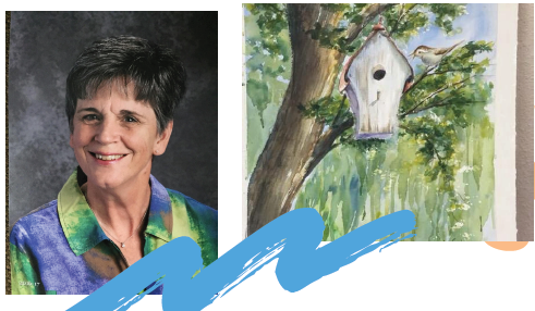More about Faye Schoen - Hello! My name is Faye (Speltz) Schoen. I am excited to have an opportunity to teach a watercolor methods class at Grace Place. Carla asked me to write a little about myself and my passion for painting so here goes:Actually my love for all things arts and crafts began before I even started school. My mother was a crafter and I loved watching her