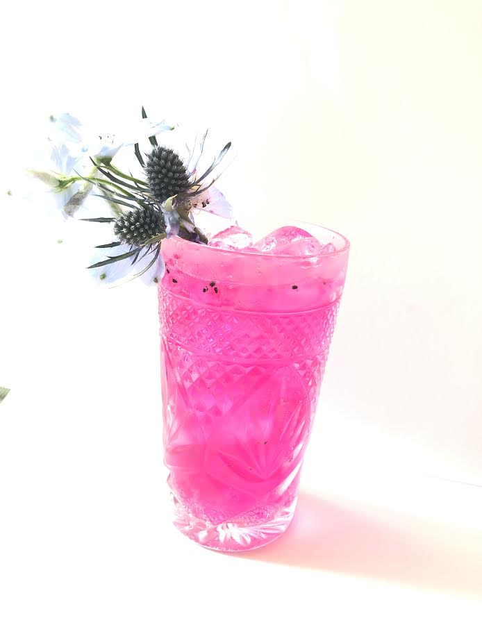 Dragonfruit Cooler - 1 1/2 oz Malfy Grapefruit Gin1/2 oz Simple Syrup1/4 Dragon FruitFever Tree Tonic WaterMuddle Dragon Fruit and Simple syrup. Add Gin. Shake Shake Shake. Strain. Add to glass. Top with tonic water.
