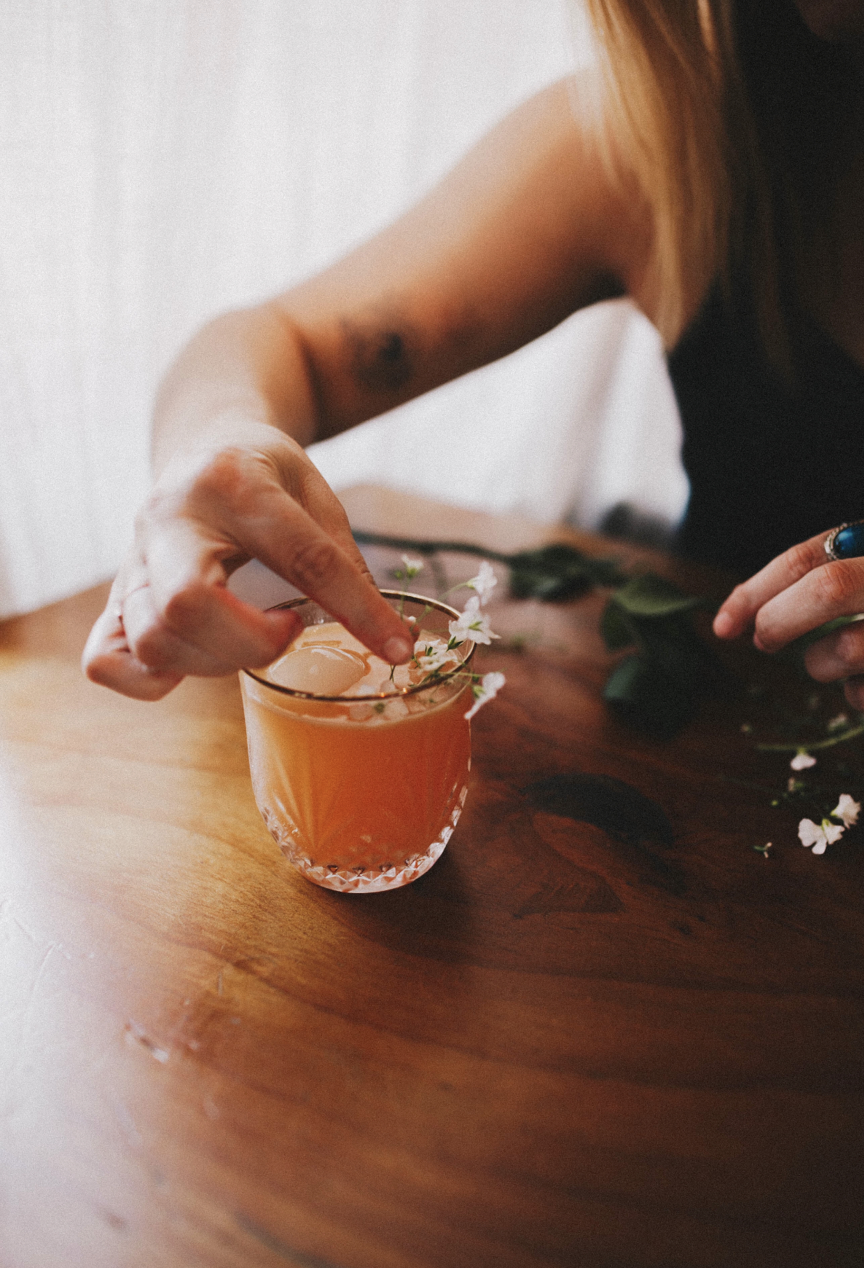 Coming Up Roses - 3 oz Lost Republic Straight Rye Whiskey2 oz Orange Juice1 oz Lemon Juice1/2 oz Simple Syrup Dash of Rose WaterCombine into shaker, shake it like a polaroid picture, add to glass with ice sphere or cubes. Sip while playing croquet at your parent's summer home in the Hamptons. If you don't have access to one of those, your backyard will suffice!