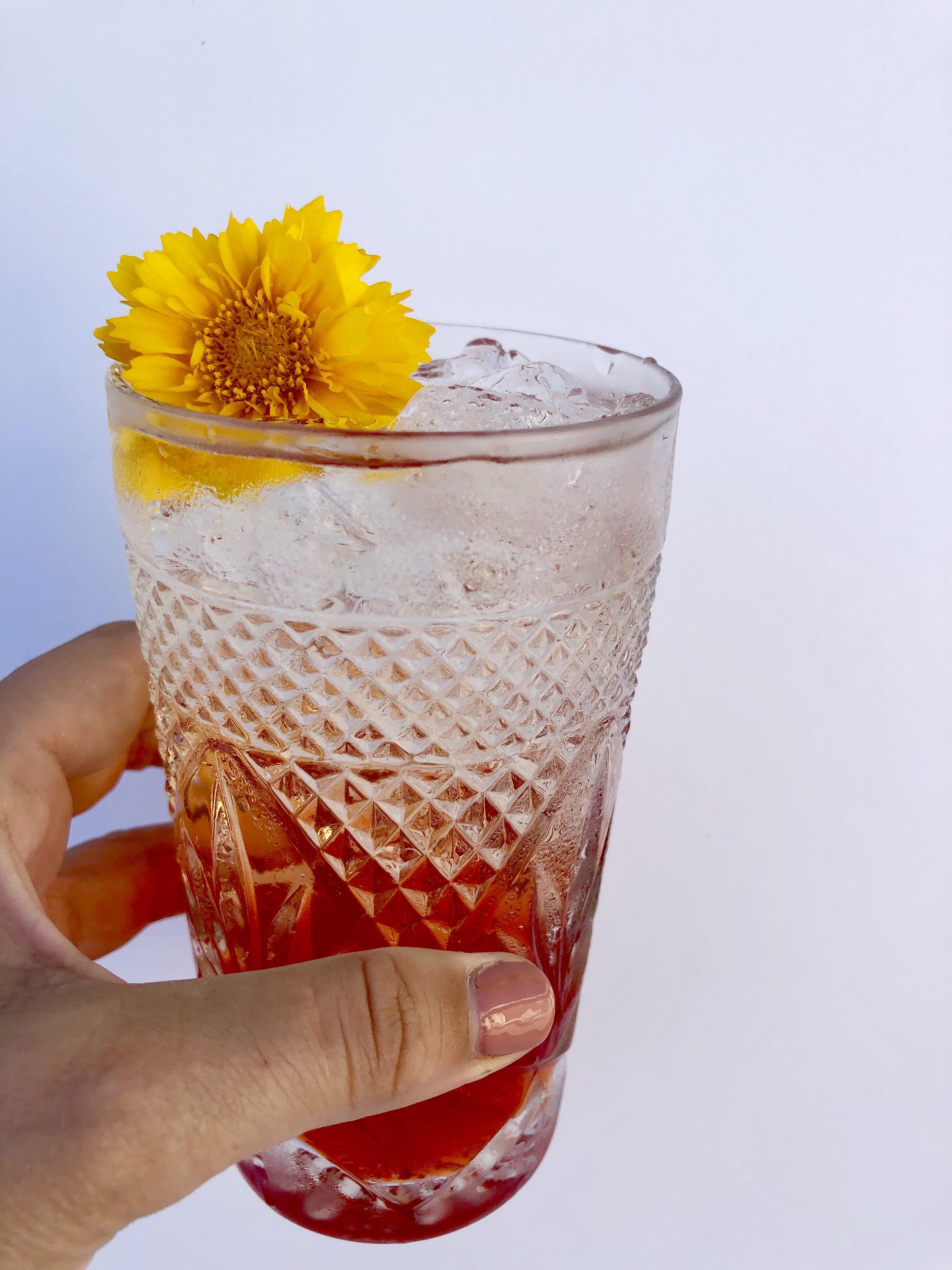 Sprig + Spritz! - A few sprigs of mint2 slices fresh Peach1 oz Aperol2 oz Blackberry KombuchaTop with Sparkling Brut Wine!