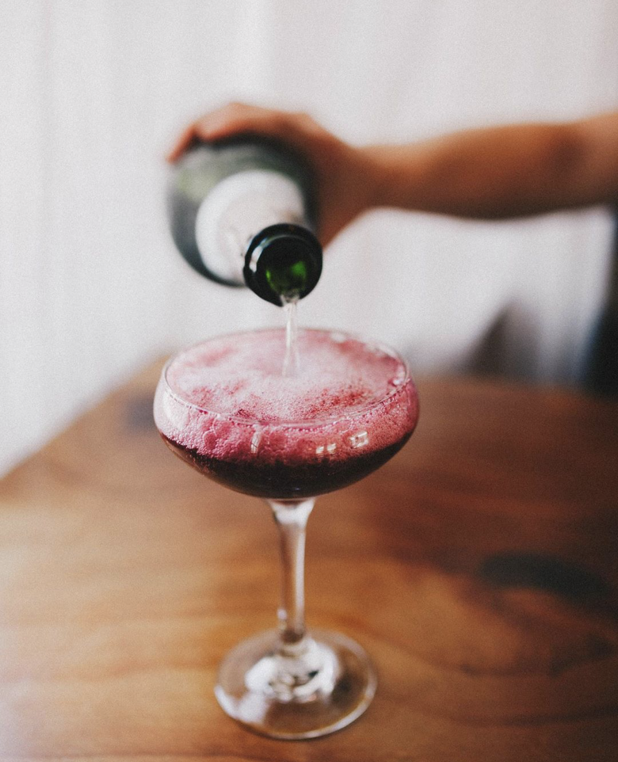 Blackberry Thyme - 1/2 oz Blackberry Syrup1/2 oz Elderflower LiquerMuddled ThymeMix that allll up!!Top with Prosecco