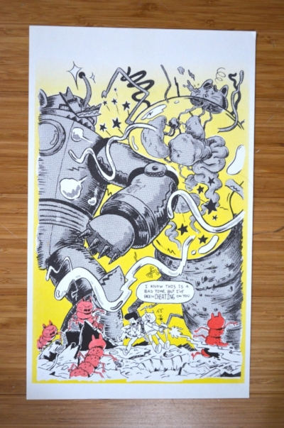 """Cheating"" - Justin Quinlan, 2016  Risograph printed poster in yellow, red, and black"