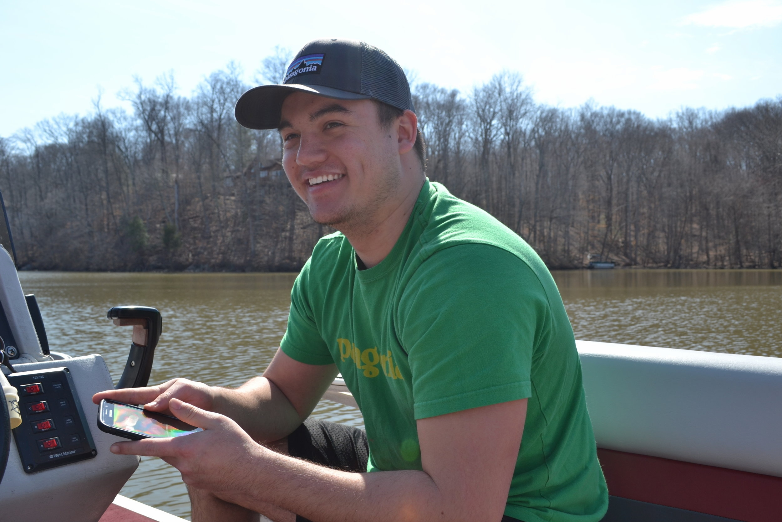 Rob Ulrich on a pontoon boat in Kettle Run, Virginia in March 2016.