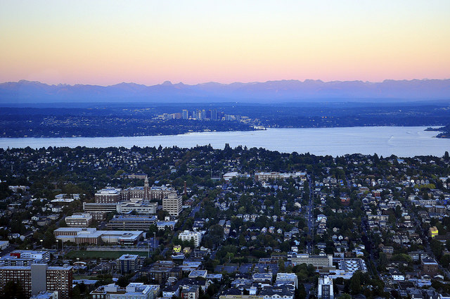 Aerial view of Seattle, Lake Washington, and Bellevue. (Flickr Photo / Joe Wolf)  BY MONICA NICKELSBURG