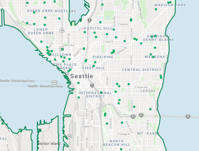BY KURT SCHLOSSER - Homes for sale in Seattle, as designated by green dots on the Trulia website. (Trulia.com mage)
