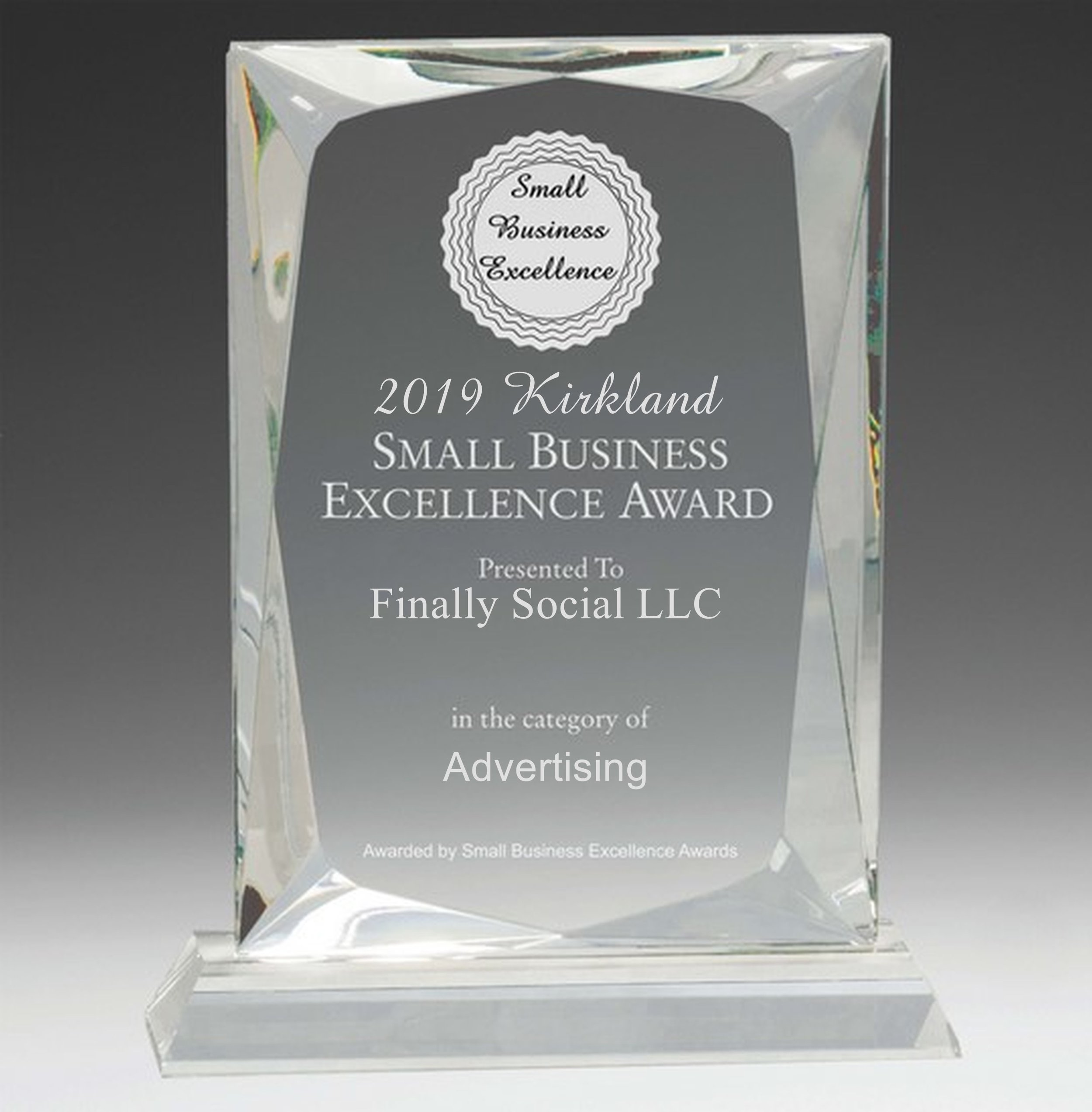 Finally Social LLC selected for 2019 Kirkland Small Business Excellence Award.jpg