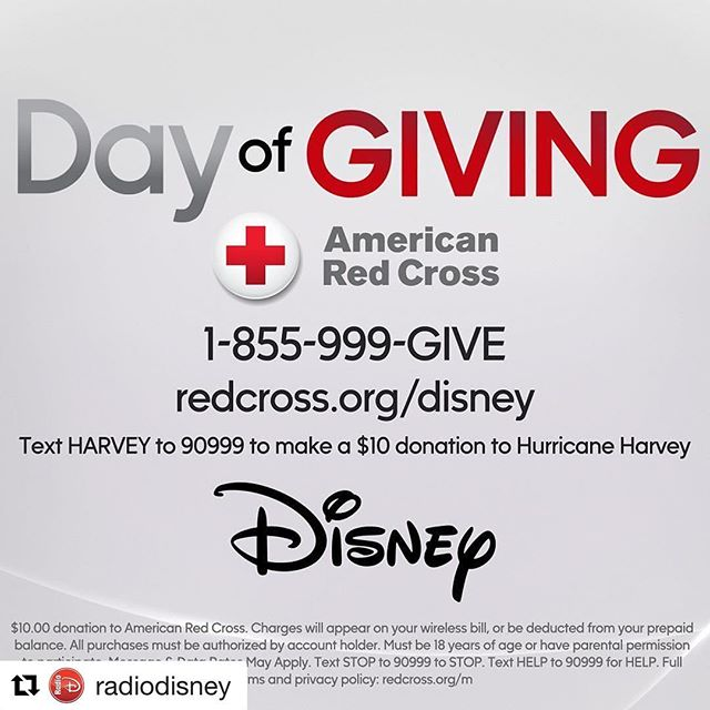 #spreadtheword Let's come together and make a difference #repost @radiodisney ・・・ Today we join our Disney family to take part in #DayOfGiving. Learn how you can help those affected by #HurricaneHarvey at RedCross.org/Disney
